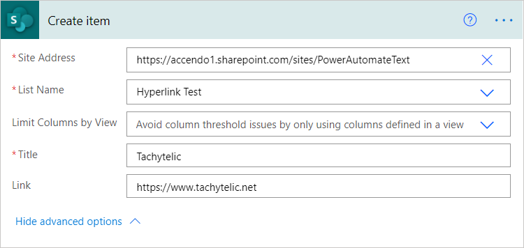 Image of SharePoint Create Item action in Power Automate