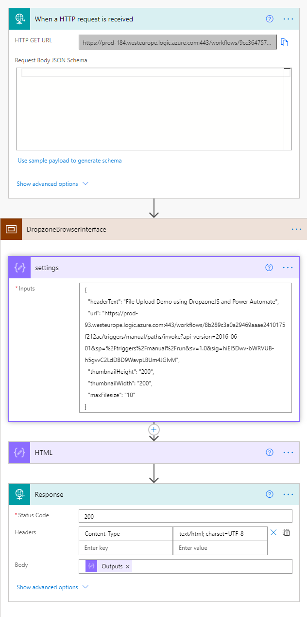Image of a Power Automate flow that allows a browser based client to upload files directly to a SharePoint document library.