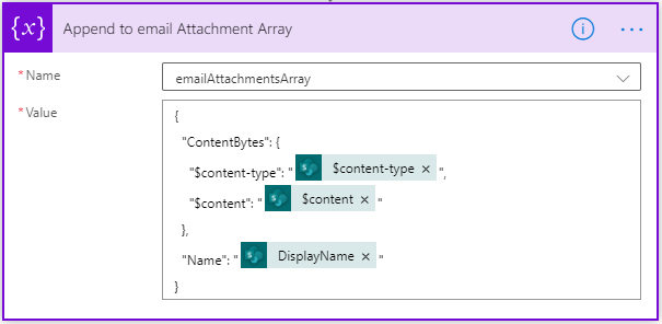 Image of Power Automate array containing multiple email attachments.