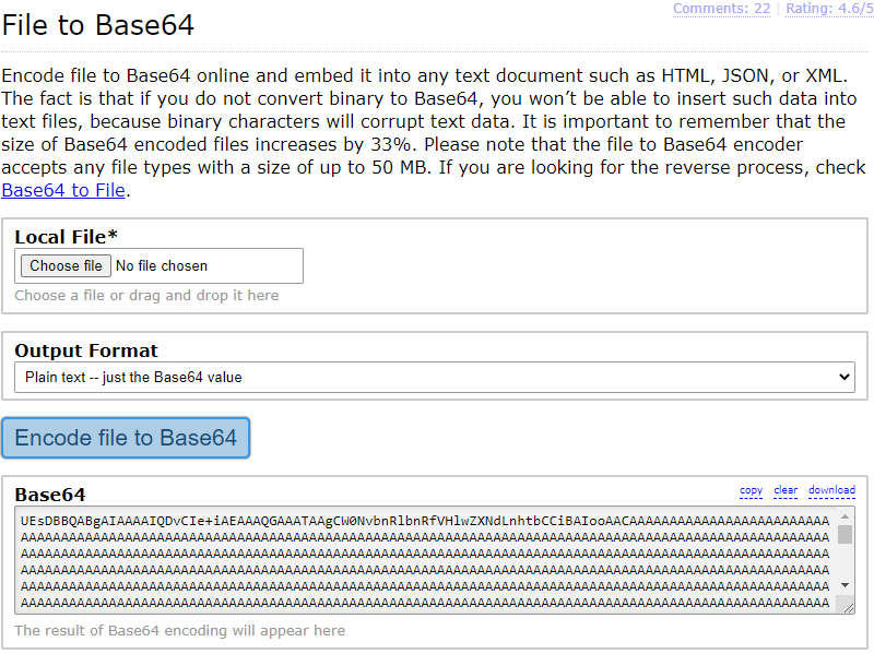Image of base64.guru website, converting an Excel file to Base64