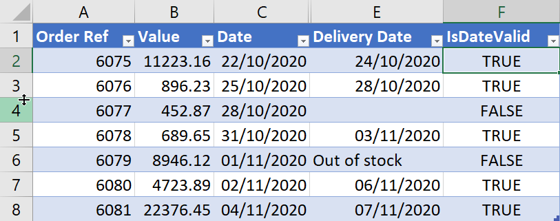 Image showing if Excel dates are valid for use in a Power Automate flow.