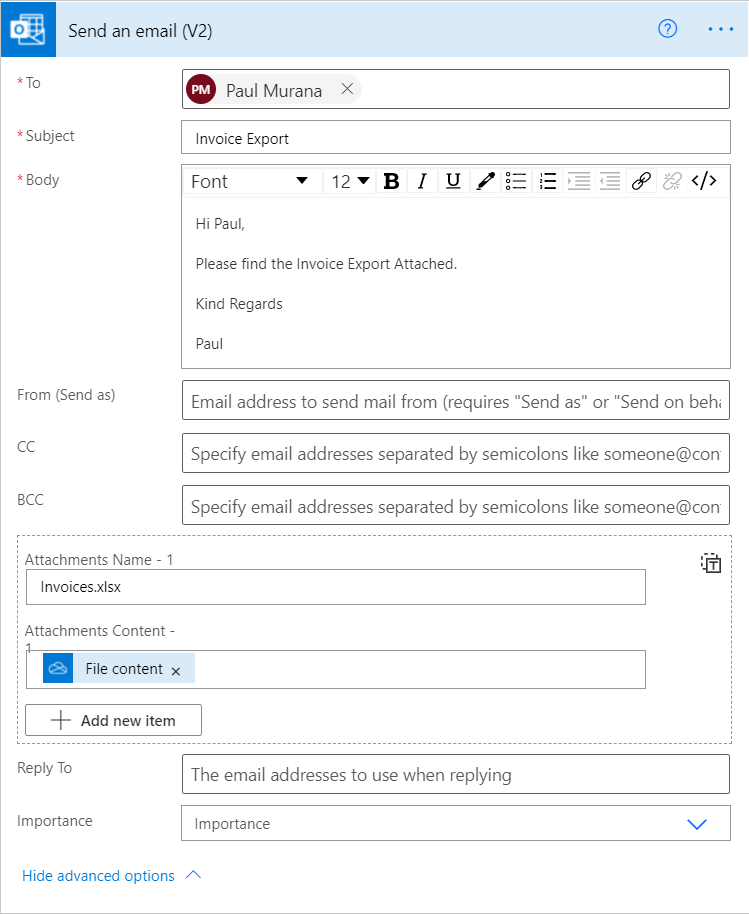 Image of Power Automate emailing data exported to an Excel file.