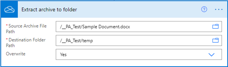 Image of a word document being extracted by Power Automate