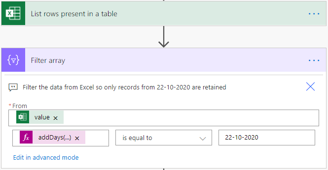 Image of Power Automate filtering an Excel table based on the Date column.