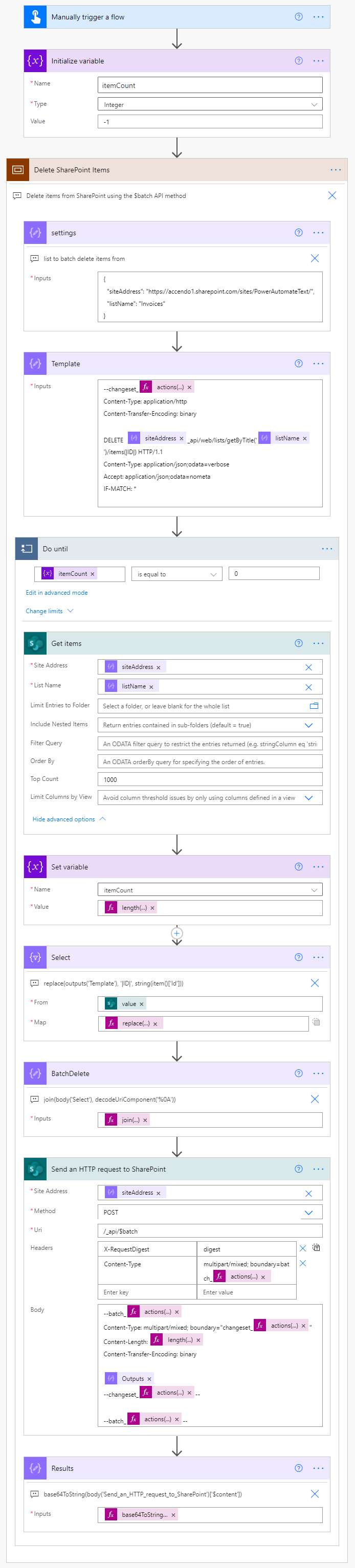 Image of a Power Automate Flow that uses the SharePoint batch API method to quickly delete items from a SharePoint List