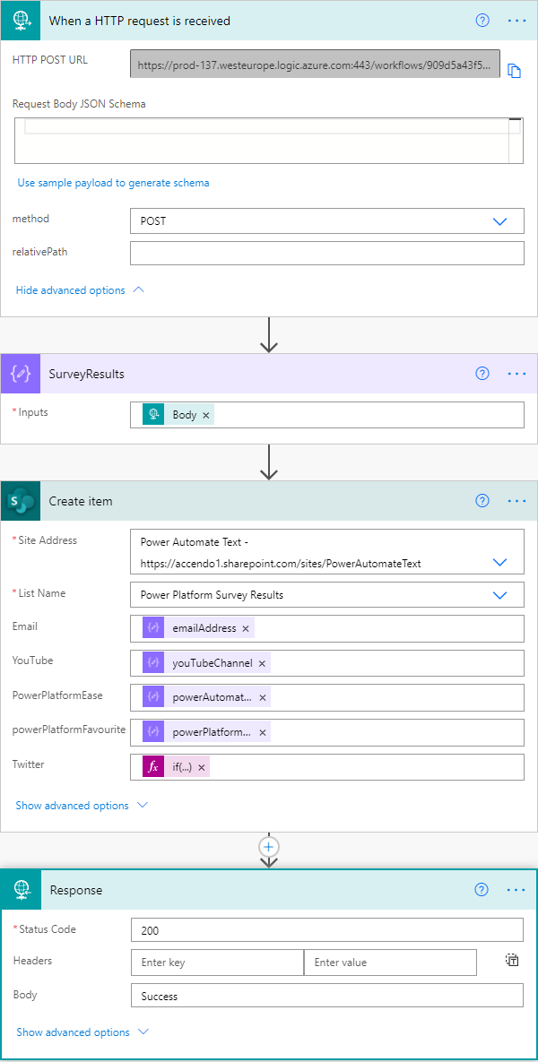 Image of Power Automate flow receiving data from a client who has submitted a form. The flow adds the results to a SharePoint list.