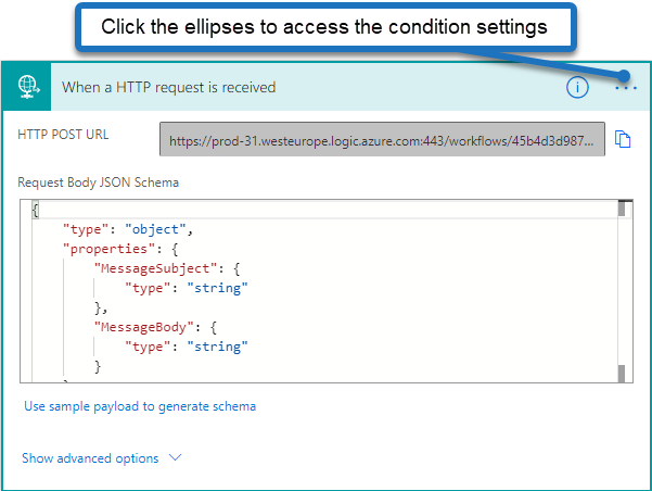 Image showing how to access the settings of the HTTP Request trigger in Power Automate