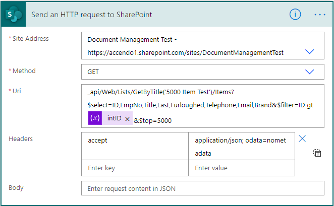 "Image of the Power Automate action ""Send an HTTP Request to SharePoint"" accessing the GetByTitle method"