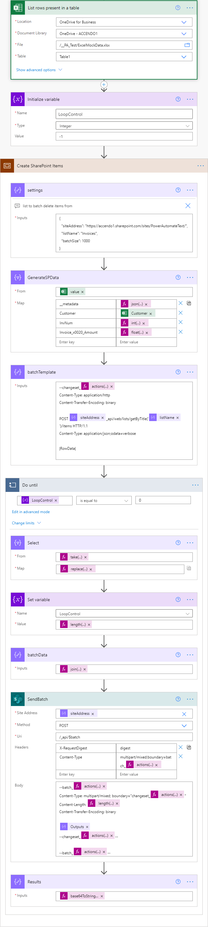 Image of a complete Power Automate Flow that uses the SharePoint $batch API to create list items