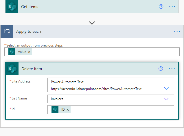 A image of a Power Automate flow used to delete items from a SharePoint list.