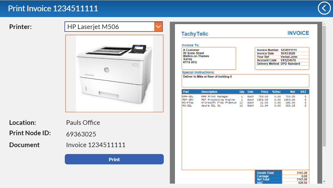 Image of a screen from PowerApps which is used to preview a PDF document and then print it to an on-premise printer.