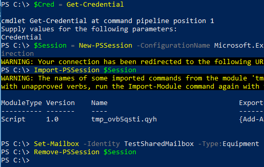 Image showing successful conversion of mailbox in Office 365 from Powershell