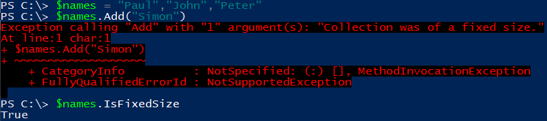 Image showing error when trying to add an element to a fixed sized Powershell Array.