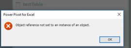 Image showing error produced by Power Pivot for Excel when trying to delete a table from the data model.