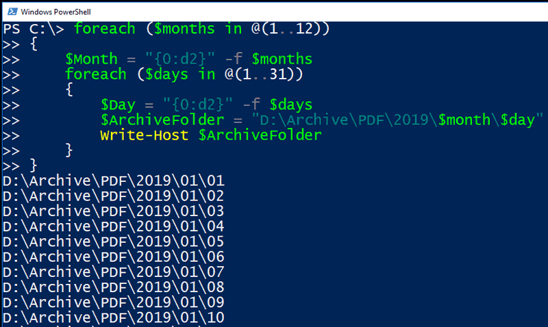 Image of PowerShell loop padding a single digit number with leading zeros