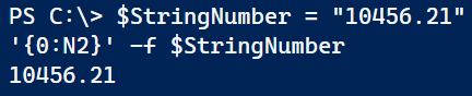 Image showing Powershell trying to add thousand separators to a number stored as a string.