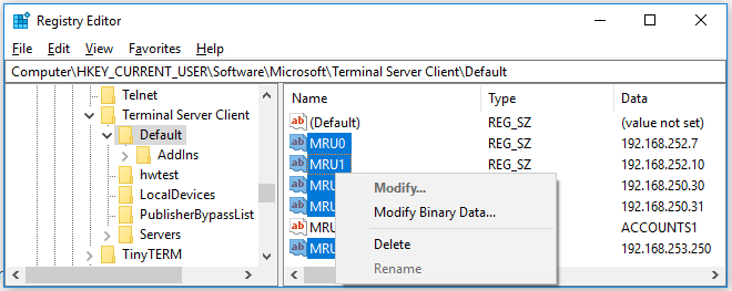 How to clear RDP Connection History