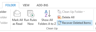 Enabling the option to Recover Deleted Items in Outlook 2013 using the DumpsterAlwaysOn registry value