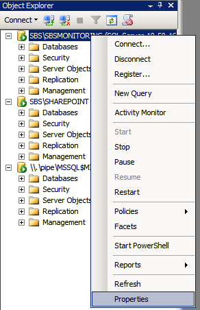 Modify SQL Instance Properties in SBS 2011 using SQL Management Studio