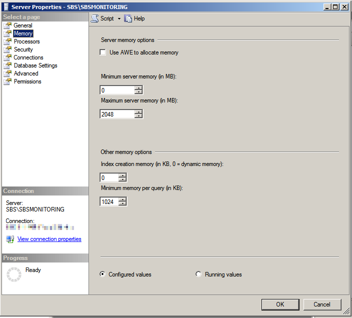 Setting the maximum memory usage for an SQL Instance on SBS 2011