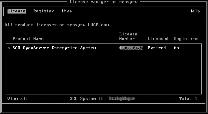 Image showing SCO Openserver License Manager license expiry