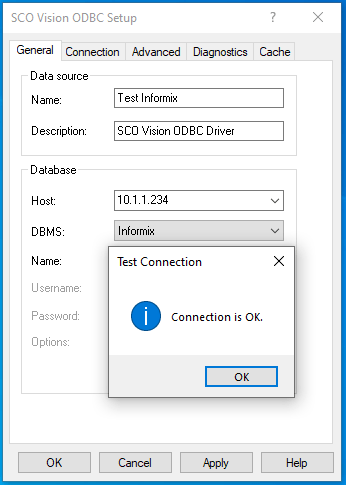 Image showing ODBC Data Source setup using the SCO Vision ODBC Driver.