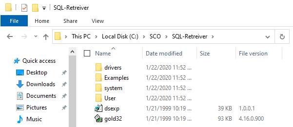 Image showing additional binaries needed for SCO SQL-Retriever to work on Windows 10.