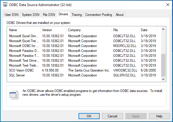Image showing the ODBC Administrator tool with the SCO Vision ODBC Driver installed.