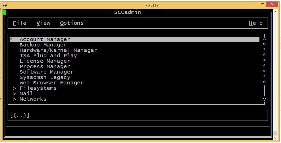 SCOadmin with correct terminal settings