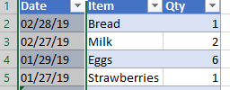 Image showing selection of column of US format dates in Excel