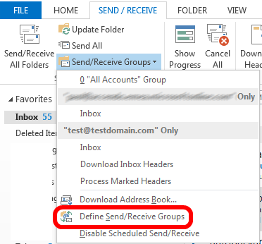 Removing an account from the send/receive group in Outlook 2013