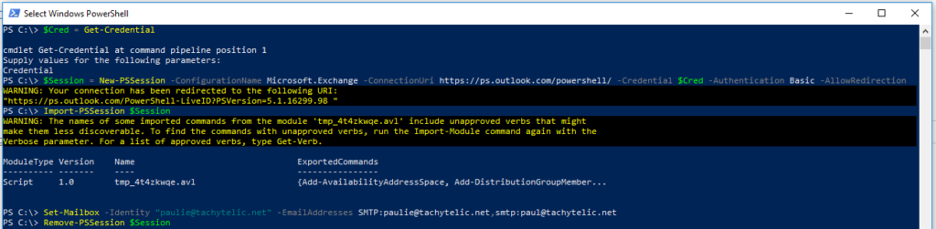 Screenshot showing how to Set the Primary Email Address on Office 365 with Powershell