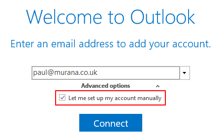 Image showing Outlook account setup wizard and selecting the setup account manually checkbox.