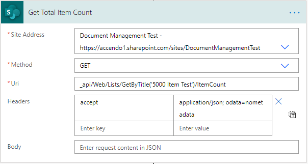 Image of the SharePoint API being used to get the total item count of a list.