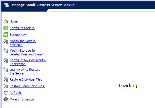 Small Business Server 2003 Backup Console
