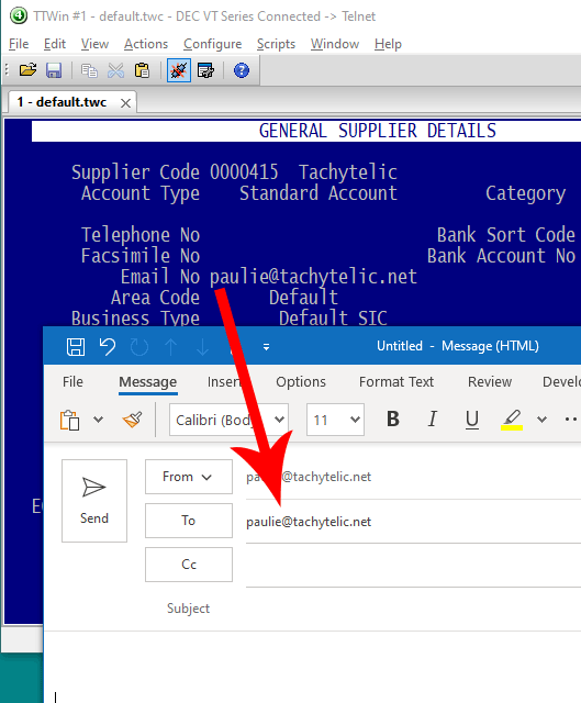 Image showing Email being initiated from a VBA Script within Powersoft TTWin 4