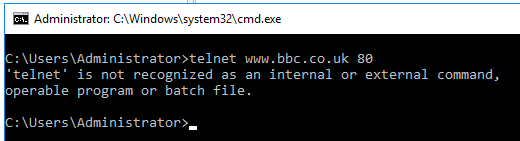 Image showing telnet not available in Windows Server