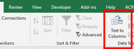 Image showing the data Ribbon on Excel with the Text to Columns function highlited