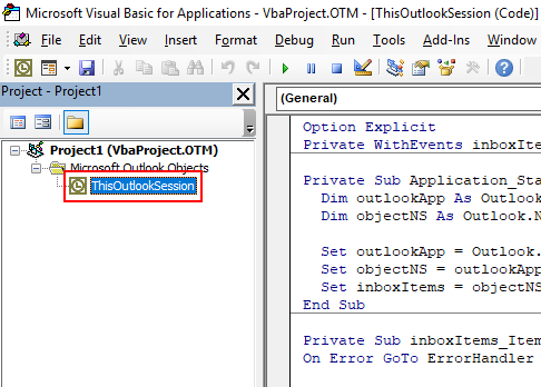 Screenshot showing the location of where to paste code into ThisOutlookSession to trigger a macro when new mail is received.