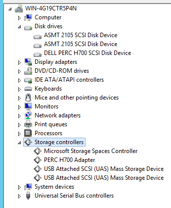 Device manager showing UAS Enabled USB 3.0 Devices on a Dell Poweredge R320