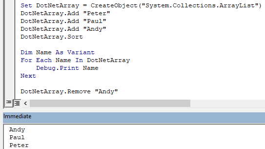 Image showing how to add items to a VBA array.