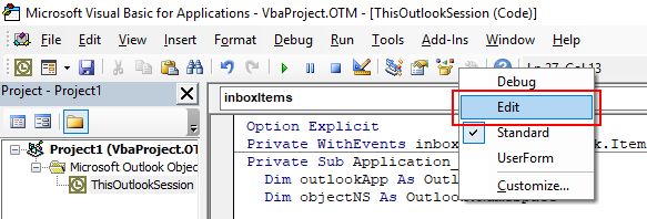 "Image showing how to add the ""edit"" toolbar in Office VBA to allow you to easily comment and uncomment blocks of code in VBA"
