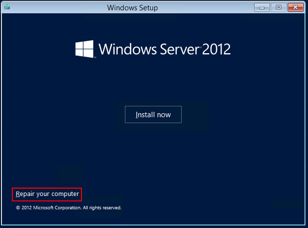 Image showing Windows Server Setup Repair computer option