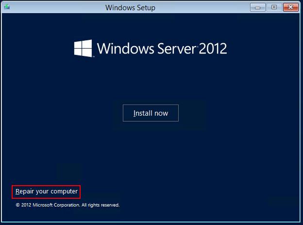 Image showing Windows Server Setup Repair computer option