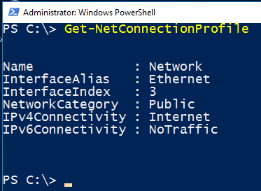 Image showing Powershell to get the current network profile