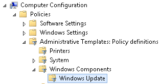 Image showing Windows Update branch in Group Policy Settings