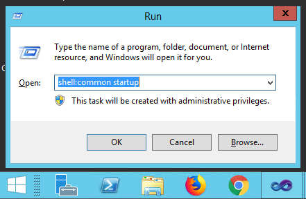 Run window on Windows Server showing how to access the common startup folder for all users.