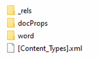 Image of the root folder of a word docx zip file