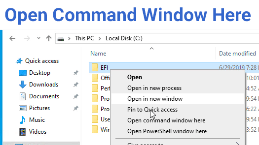 How to add Open command window here to Windows 10 Context Menu