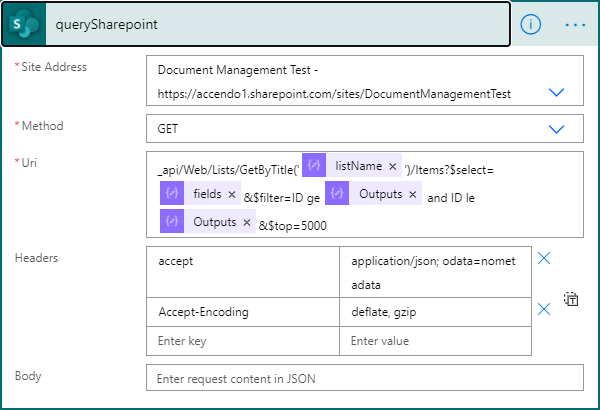 Image of SharePoint HTTP Action being used to collect 5000 records from SharePoint